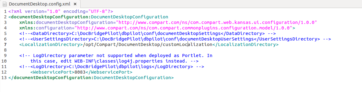 Document Desktop config xml